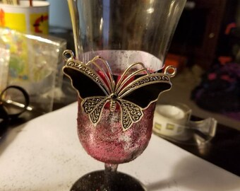 Black Butterfly Hurricane Glass Decoration