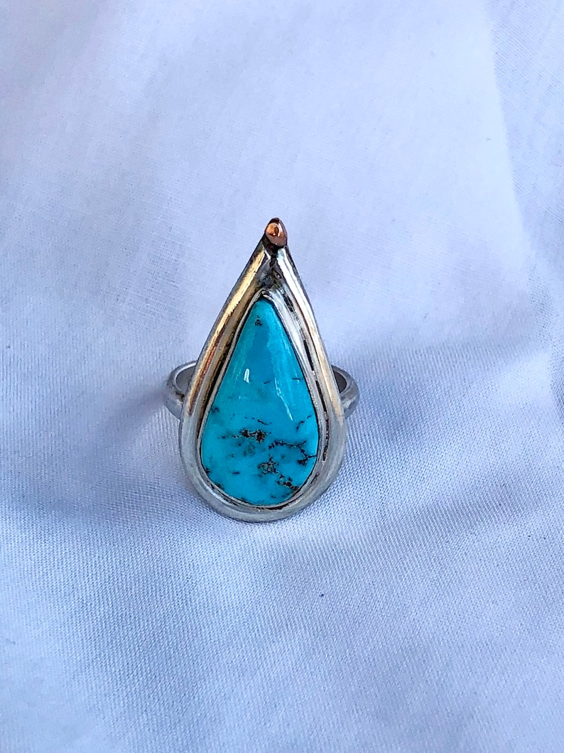 Turquoise and Sterling Silver Ring with Gold Accent Size 6