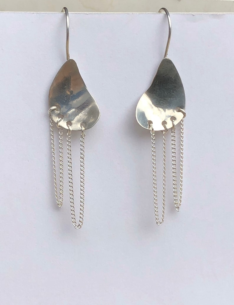 Sterling Silver and Sterling Chains Drop Earrings