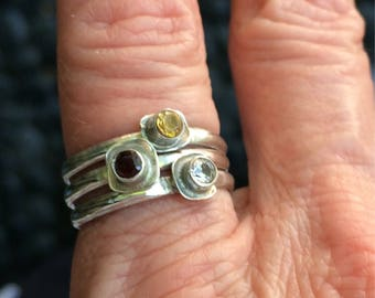 Stackable Silver Rings With Faceted Stones