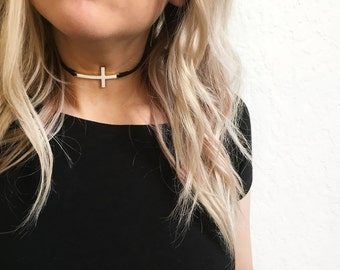 Black suede leather choker cross necklace, cross choker, suede choker, leather choker, black choker,