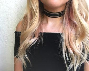 Black five strand suede leather choker necklace - strappy choker, five strand choker, thick choker, suede choker