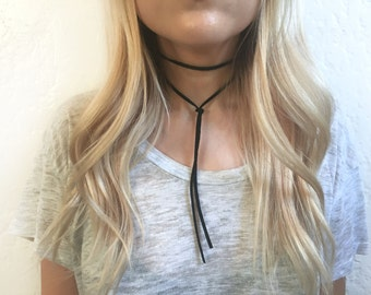 Black suede leather bolo choker necklace, black choker, bolo necklace, wrap choker, suede choker, leather choker
