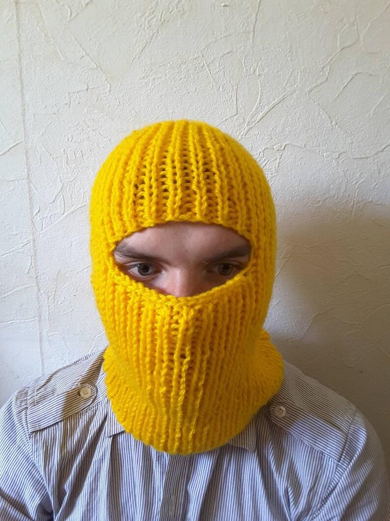 yellow balaclava ready to ship New handknit wool blend winter balaclava face mask hat helmet ski mask
