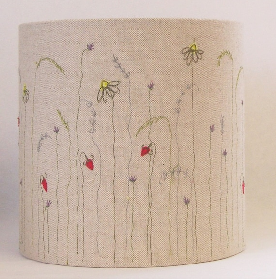 Meadow lampshade embroidered lampshade linen lampshade aloadofball Choice Image