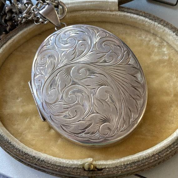 RESERVED Vintage Engraved Silver Locket / Large Lo