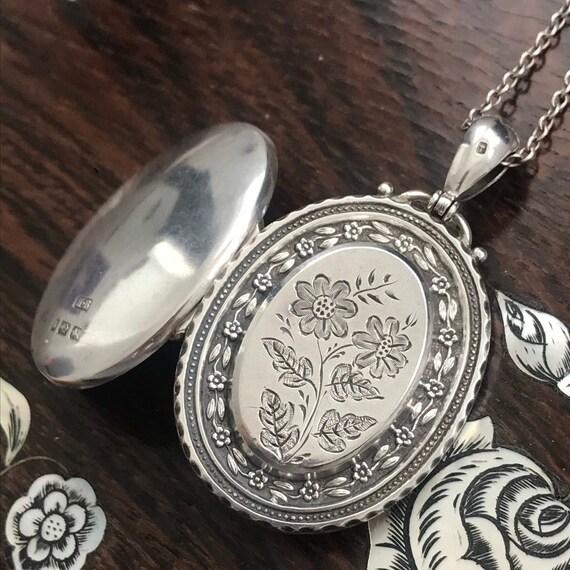 Victorian Silver Flower Locket / Antique Locket /