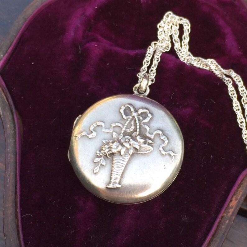Art Nouveau jewellery Antique French Silver floral photo locket Vintage locket necklace