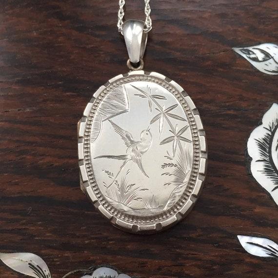 Antique Silver Bird Locket / Victorian Locket / An