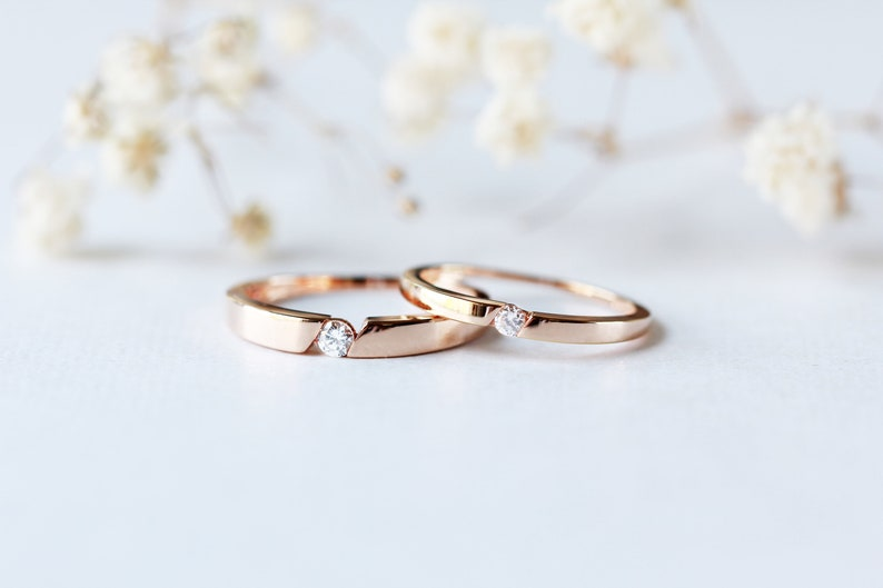 His And Hers Couples Rings Diamond Cz Wedding Rings Set Etsy