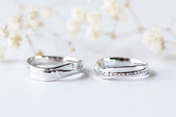 His And Hers Wedding Ring Sets.Couple Rings Set For His And Hers Wedding Band Diamond Wedding Band Engagement Rings Couple Wedding Band Silver Rings Diamond Rings Set