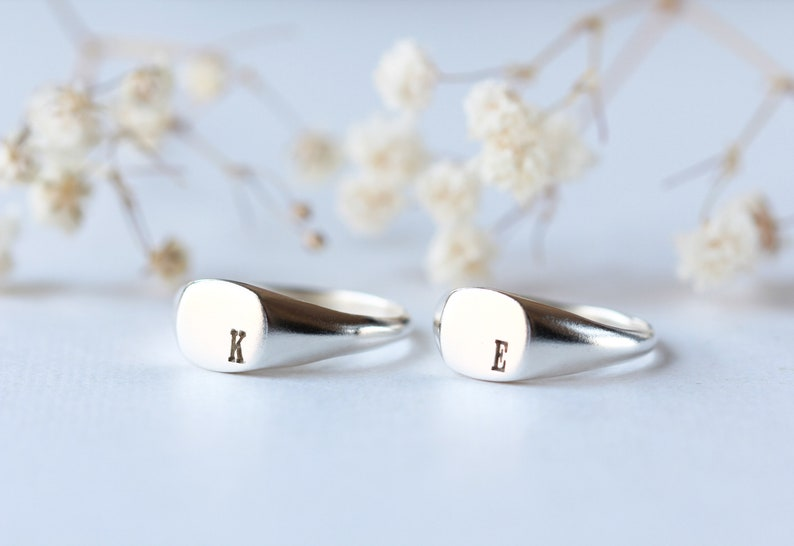 Personalized promise ring signet ring signature ring initial promise ring initial ring his and hers couple rings personalized initial rings