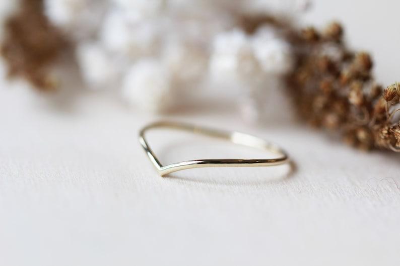 14K Gold Chevron Thin Minimalist Chevron Ring Gold Stacking Ring Simple Gold ring Dainty Gold ring Thin Gold stackable Ring Handmade ring