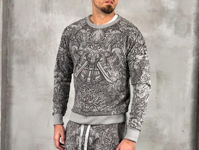 Shirt Gris Sweat Masque Etsy Coton Samouraï Dragon Homme Et zqqfgwd