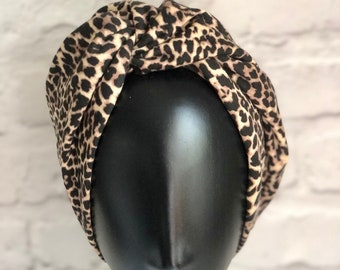 Vintage Style, Leopard Print Turban, for Women, Chemo Headwear, Retro Turban, 1940s Hat, Chemo Gifts, Vintage Gift Ideas, Retro Gifts