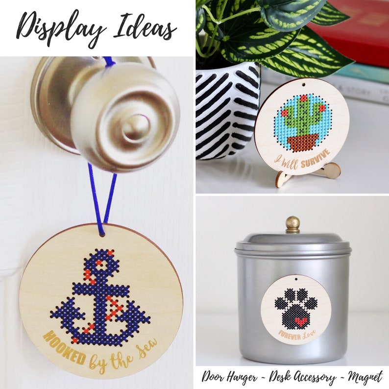 Funny Black Cat Pattern Cat Lover Gift Idea Modern Embroidery Kit Cat Cross Stitch Kit with Wooden Disc Easy DIY Beginner Stitch Kit