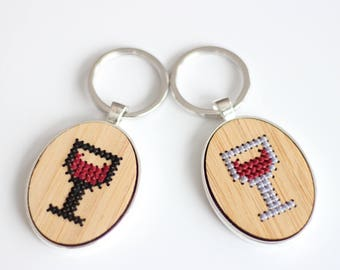 Wine Glass Cross Stitch Keychain Kit with Bamboo Wood *Modern Embroidery Keyring DIY Kit