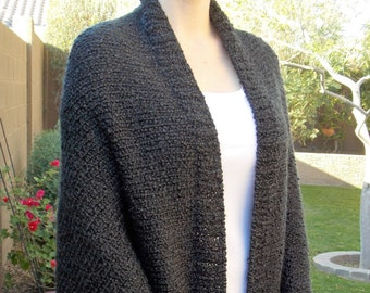 Hand Knitted Oversized Shrug, Kimono Knit Cardigan, Hand Knitted Bolero Shrug, Black Batwing Shrug