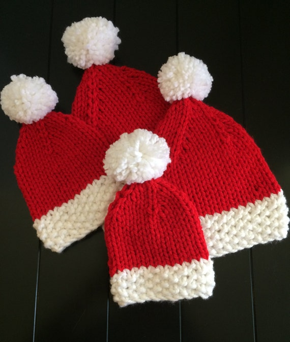 Knitted Santa Hat Red Baby Christmas Hat Newborn Christmas  924e83b9ed57