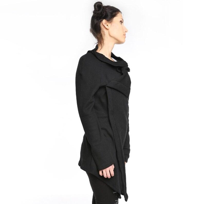 Black oversized textured jersey cardigan black cowl cardigan Black cardigan textured cardigan  ANDADA 002 asymmetrical cardigan