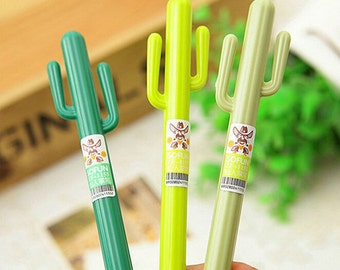 Cactus Gel Pens - Cute, Kawaii, Cactus, Succulent, Green, Desert, Plants, Novelty, Saguaro, Planner, Writing, Fine Print, Ultra Fine, Cacti