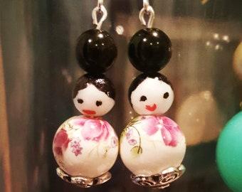Kokeshi Doll Earrings, Dangle Drop Earrings