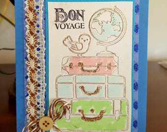 Safe travels card etsy bon voyage card safe travels greeting card with suitcases enjoy your vacation travel card handmade embellished world travels card m4hsunfo