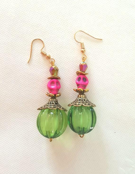 Day Of The Dead Halloween Fancy Dress Accessories Pink Skull Earrings Jewellery