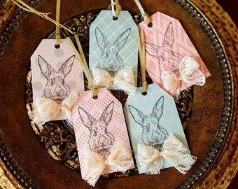 Easter Tags Easter Handmade Gift Tags Handmade Paper Tags Handmade Easter Favor Tags Easter Bunny Tags Easter Bunny Gift Tags Shabby Chic