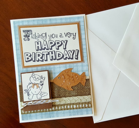 Fisherman Birthday Card Funny Birthday Card With Cat Fishing Etsy