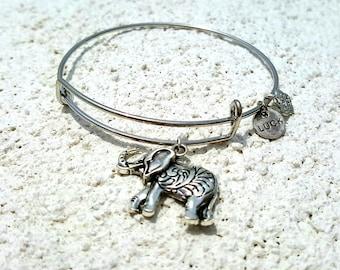 Expandable Bracelet with Elephant Charm * Luck Bangle Bracelet