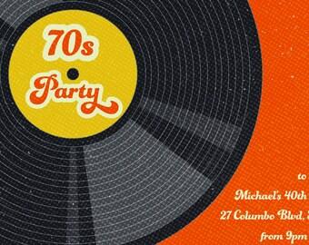 1970s invitation, 70s invite, seventies invitation