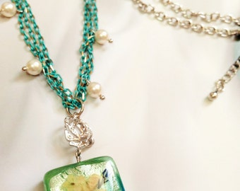 Pressed flower jewelry, Handmade multi-strand chain necklace,  Artisan glass pendant with resin & flower, Silver Rose, pearl charm