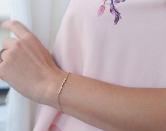 Bar 14k solid gold bracelet, bar diamond bracelet, solid gold chain, real diamonds, pave setting, dainty diamond bracelet, Delicate bracelet