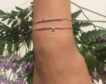 Diamond bar bracelet, dainty bar bracelet, line diamond bracelet, row diamond bracelet, soild gold real diamonds, romentic gift for her