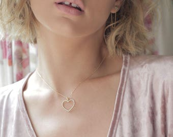 Heart necklace, heart shpaed, diamond necklace, charm necklace, love necklace, diamond gold necklace, heart gold necklace, gift for her