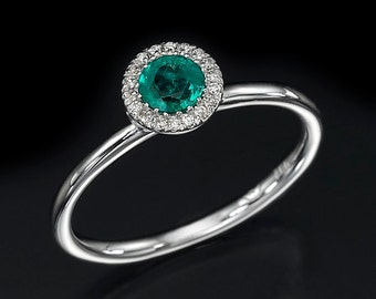 emerald ring, engagement ring, halo ring, diamond ring, gemstone ring, green ring, gold ring, bridal jewelry, gift for her