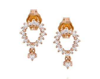 Pear shape earrings, dainty diamond earrings, teardrop gold earrings, diamond studs, stud earring, drop diamond earrings, gift for fer