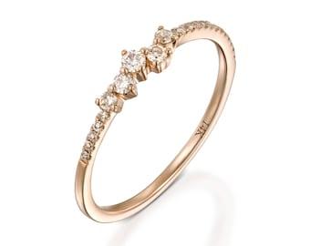 Dainty eternity ring, diamond wedding band, rose gold ring, stackable ring, wedding diamond ring, romentic, gift for her, row diamond ring