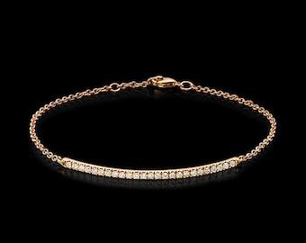 Diamond bar bracelet, single row bracelet, diamond bracelet, bar bracelet, chain bracelet, pave bracelet, yellow gold bracelet, dainty