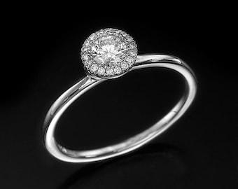 Diamond halo ring, halo engagement ring, halo ring, Diamond Wedding Ring, Diamond Halo Ring, Dainty Diamond Ring, halo diamond ring, bridal