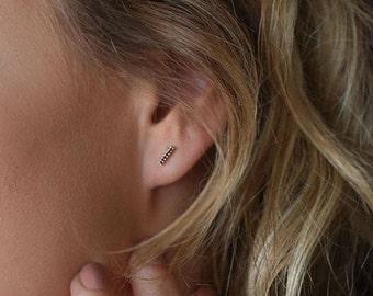 Black diamond earrings, bar earrings, black diamond studs, 14K rose gold earrings, dainty diamond earrings, Black earrings, gift for her