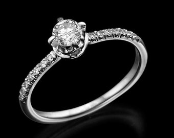 Diamond engagement ring, engagement ring, diamond gold ring, crown ring, prong ring, bridal jewelry, solitaire ring, round diamond ring