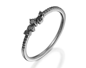 Black diamond ring, diamond eternity ring, dainty diamond ring, stackable ring, romentic, gift for her, row diamond ring, black ring