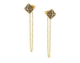 Pyramid earrings, black diamond pyramid earrings, black diamond drop, square pyramid earrings, chain earrings, gifr for her, dangle earrings