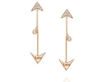 Love earring, errow earring, dangling earring, long earring, rose gold earring, diamond errow earrings, romentic, gift for her, drop, dangle