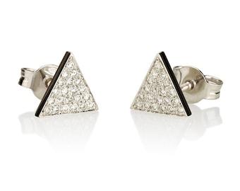 Triangle earrings, geometric earrings, triangle diamond earrings, stud diamond earrings, stud earrings, pave earrings, minimalistic earrings