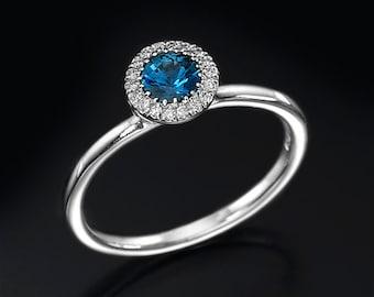 Sapphire ring, engagement ring, halo ring, diamond ring, gemstone ring, blue ring, gold ring, gift for her, September Birthstone