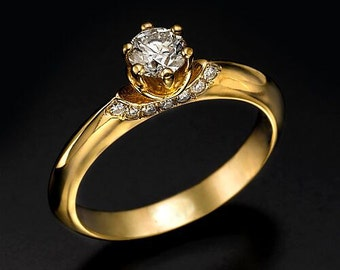 0.50 CT round cut G/SI1 diamond engagement ring 14K rode gold