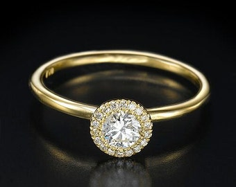 0.40ct diamond ring, engagement ring, halo ring, diamond ring, gold ring, bridal jewelry, gift for her